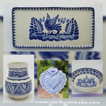mexican ceramic mexican potttery folk art talavera Gorky Gonzalez Blue and White<br>Collection