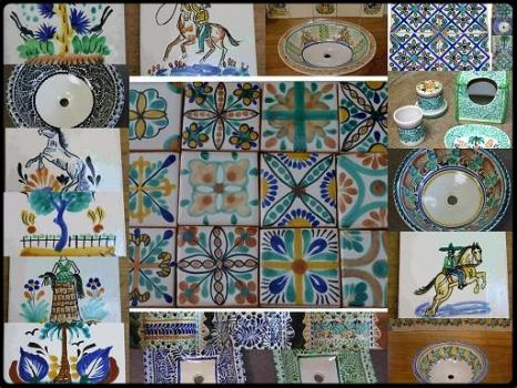 mexican ceramic mexican potttery folk art talavera Gorky Gonzalez Tiles & Sink<br>Catalogue