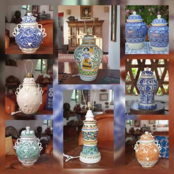 mexican ceramic mexican potttery folk art talavera Gorky Gonzalez Lamps<br> & Decorative Vases