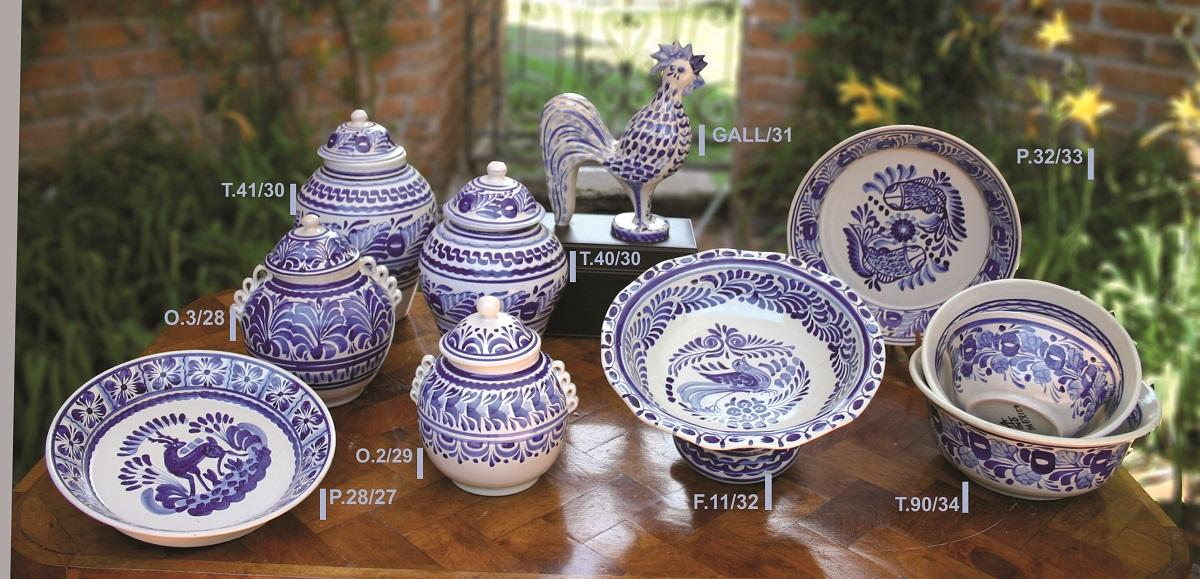 mexican ceramic mexican potttery folk art talavera Gorky Gonzalez Blue & White Collection 2