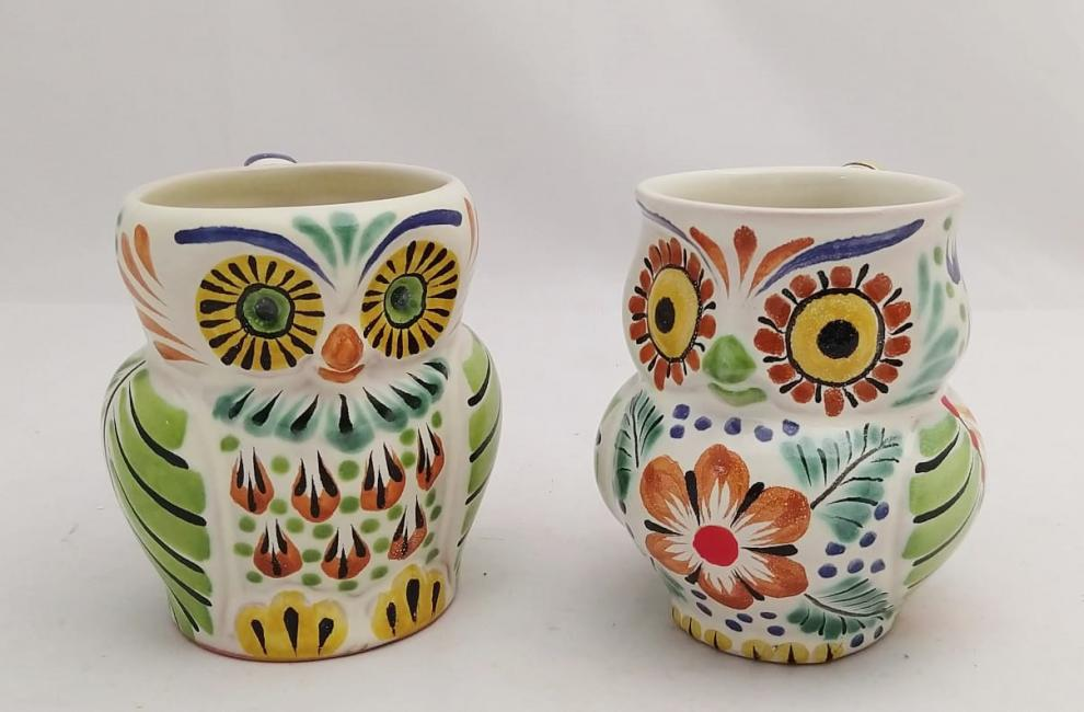mexican ceramic mexican potttery folk art talavera Gorky Gonzalez Perfect Couple<br>Owl Coffe Mug<br>Green-Terracota