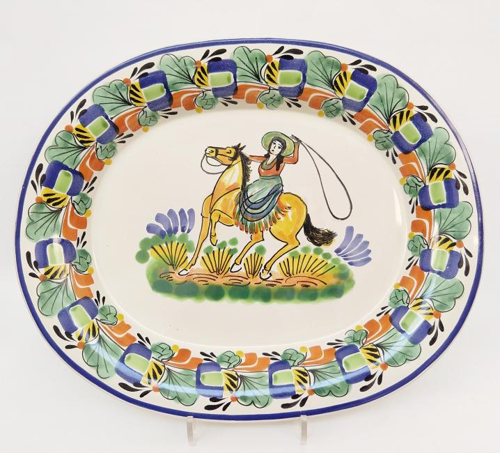 mexican ceramic mexican potttery folk art talavera Gorky Gonzalez Semi Oval Platter Cowboy<br> Blue-Green Colors