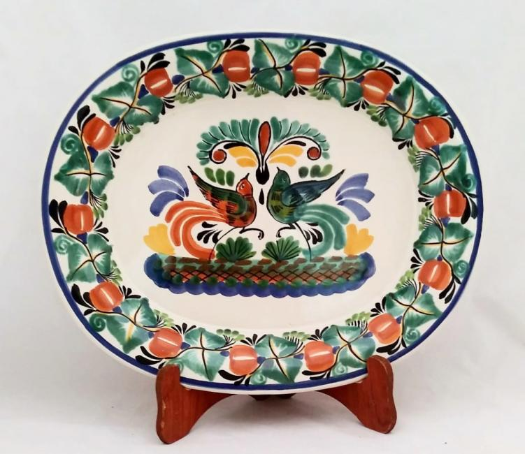 mexican ceramic mexican potttery folk art talavera Gorky Gonzalez Semi Oval Platter<br>Love Birds<br>Traditional Colors
