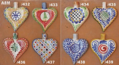 Mexican pottery mexican ceramic folk art HEART ORNAMENTS