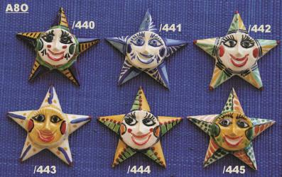 Mexican pottery mexican ceramic folk art STAR ORNAMENTS