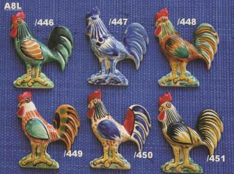 Mexican pottery mexican ceramic folk art ROOSTER ORNAMENTS