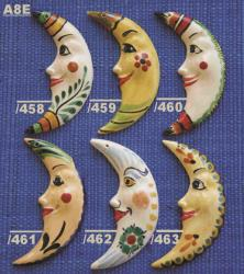 Mexican pottery mexican ceramic folk art MOON ORNAMENTS