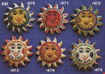 Mexican pottery mexican ceramic folk art SUN ORNAMENTS