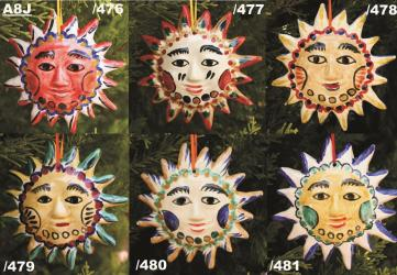 Mexican pottery mexican ceramic folk art NEW SUN ORNAMENTS