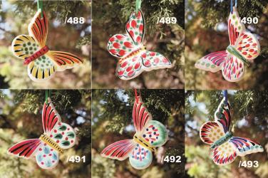 Mexican pottery mexican ceramic folk art BUTERFLY ORNAMENTS