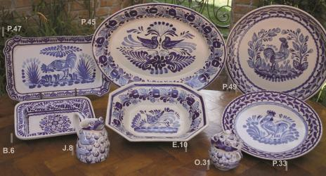 mexican pottery mexican ceramic folk art talavera Blue & White Collection