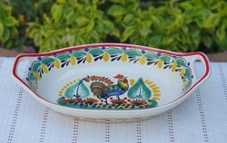 200722-21-03-mexican-ceramic-pottery-oval-bowl-with-handle-talavera-majolica-hand-made-mexico-table-serving-rooster-motive