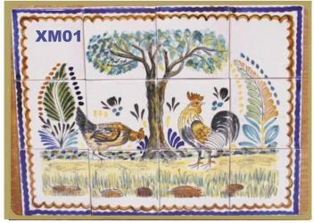 Mexican pottery mexican ceramic folk art Rooster<br>Wall Tiles