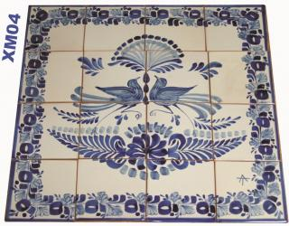 Mexican pottery mexican ceramic folk art Wall of Tiles<br>Love Birds<br>Blue and White