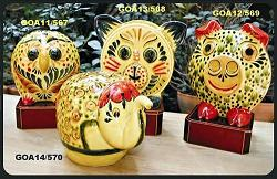 Mexican pottery mexican ceramic folk art Yellow Animals Bank