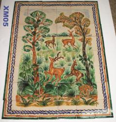 Mexican pottery mexican ceramic folk art Deer Wall of Tiles