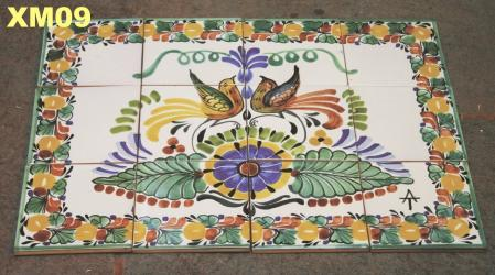 Mexican pottery mexican ceramic folk art Wall of Tiles<br>Love Birds