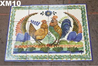 Mexican pottery mexican ceramic folk art Wall of Tiles<br>Rooster Family