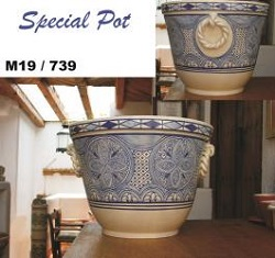 Mexican pottery mexican ceramic folk art Special Pot<br>Morisco Pattern<br>blue