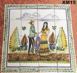 mexican pottery mexican ceramic folk art talavera Wedding Charros<br>in Wall Tile