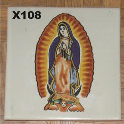 mexican pottery mexican ceramic folk art talavera Tile W/Virgin of Guadalupe