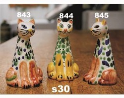 mexican pottery mexican ceramic folk art talavera Cat<br>Salt & Pepper Shaker Set