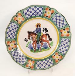 mexican pottery mexican ceramic folk art talavera CowBoy Flower Plate Shape