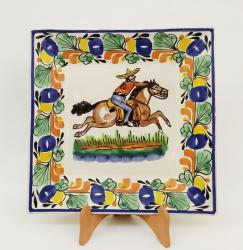 mexican pottery mexican ceramic folk art talavera CowBoy Large Square Plate