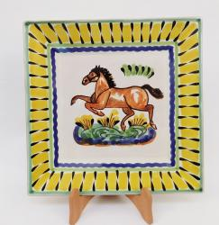 mexican ceramic mexican potttery folk art talavera Gorky Gonzalez Horse Large Square Plate