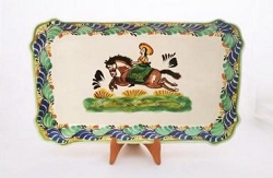mexican pottery mexican ceramic folk art talavera CowGirl Rectangular Platter