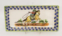 mexican pottery mexican ceramic folk art talavera CowGirl Large Rectangular Plate