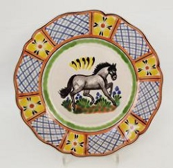 mexican pottery mexican ceramic folk art talavera Horse Flower Plate Shape