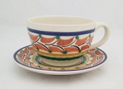 mexican pottery mexican ceramic folk art talavera Cup & Saucer<br>Terracota-Blue Colors