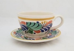 mexican pottery mexican ceramic folk art talavera Cup & Saucer<br>Blue-Green Colors