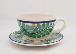 mexican pottery mexican ceramic folk art talavera Cup & Saucer<br>Green-Blue Colors