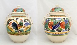 mexican pottery mexican ceramic folk art talavera Large Gto<br>Rooster Pattern<br>16.5 in H