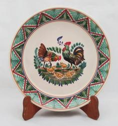Mexican pottery mexican ceramic folk art Round Platter<br>Family Roosters