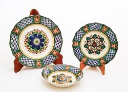 Mexican pottery mexican ceramic folk art Tableware Flower Shape<br>3 pieces<br>Individual