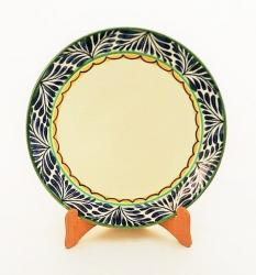 mexican ceramic mexican potttery folk art talavera Gorky Gonzalez Larde Dinner Plate<br>Blue Border