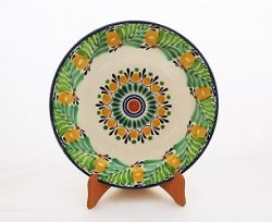 Mexican pottery mexican ceramic folk art Large Dinner Plate 12 in D<br>Flower<br>Green Colors