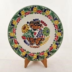 mexican ceramic mexican potttery folk art talavera Gorky Gonzalez Large Dinner Plate 12 in D<br>Butterfly<br>Traditional Colors