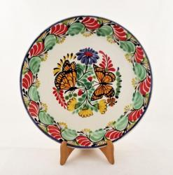 Mexican pottery mexican ceramic folk art Large Dinner Plate 12 in D<br>Butterfly<br>Green-Red Colors
