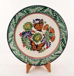 mexican ceramic mexican potttery folk art talavera Gorky Gonzalez Large Dinner Plate 12 in D<br>Butterfly<br>Green Colors