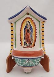 Mexican pottery mexican ceramic folk art Holy water fountain<br>Virgin Gpe<br>Green-Yellow Colors