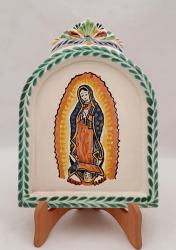 Mexican pottery mexican ceramic folk art AltarPiece<br>Virgin Gpe<br>Green-Blue Colors