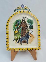Mexican pottery mexican ceramic folk art AltarPiece<br>St. Francis<br>Yellow-Terracota Colors