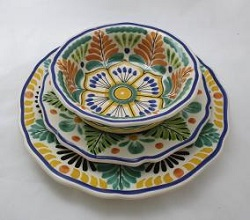 Mexican pottery mexican ceramic folk art Dish Set<br>3 pieces<br>Yellow-Terracota-Green