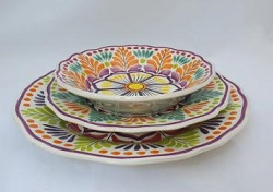 Mexican pottery mexican ceramic folk art Dish Set<br>3 pieces<br>Orange-Green