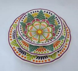 Mexican pottery mexican ceramic folk art Dish Set<br>3 pieces<br>Green-Orange
