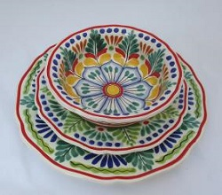 Mexican pottery mexican ceramic folk art Dish Set<br>3 pieces<br>Green-Blue